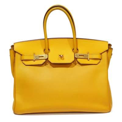 Yellow Birkin 35 leather Bag-0