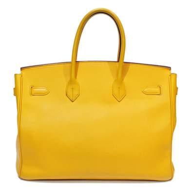 Yellow Birkin 35 leather Bag-3