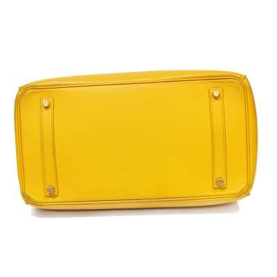 Yellow Birkin 35 leather Bag-5