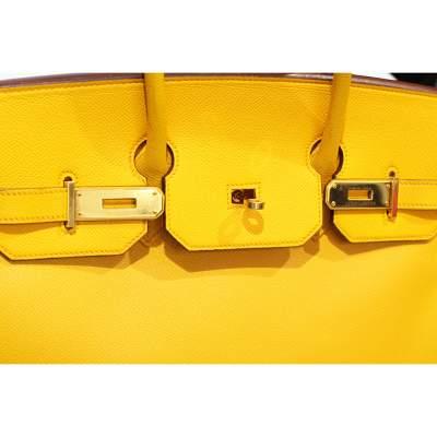 Yellow Birkin 35 leather Bag-7