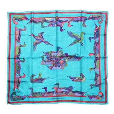 Turquoise ducks motif Scarf-0