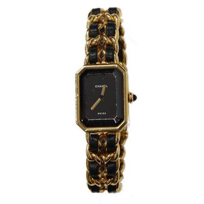 Gold and black leather Watch-3