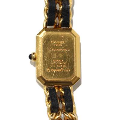 Gold and black leather Watch-5