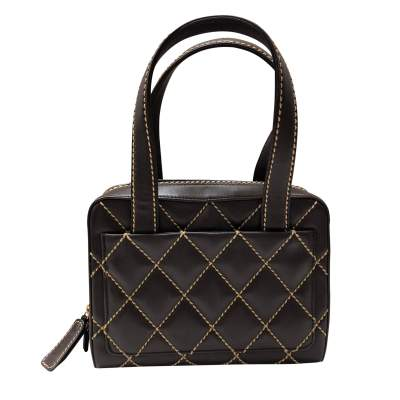Brown quilted beige leather Bag-3