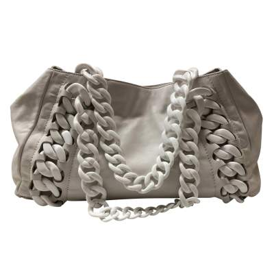 Large white leather tote Bag-3