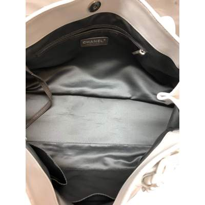 Large white leather tote Bag-11