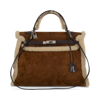 Kelly 35 Plush in Teddy shearling RARE Bag -0
