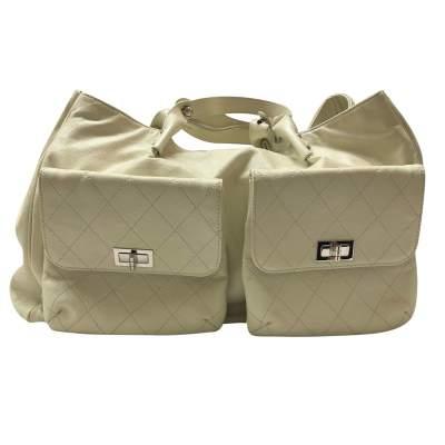Cream leather tote Bag -1
