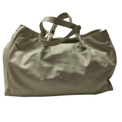 Cream leather tote Bag -3