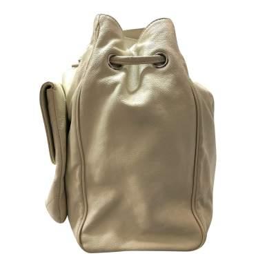 Cream leather tote Bag -5