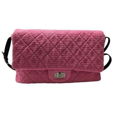 Large tweed pink leather Bag-0