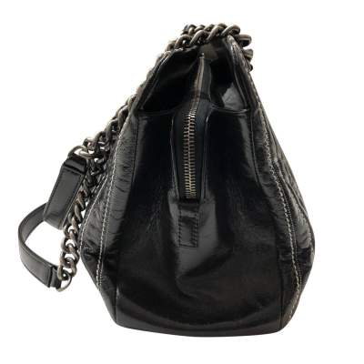 Black leather stitched Bolster Bag-5