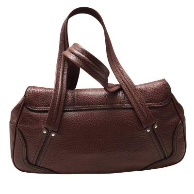Brown grained leather Handbag-3