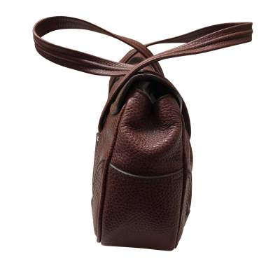 Brown grained leather Handbag-5
