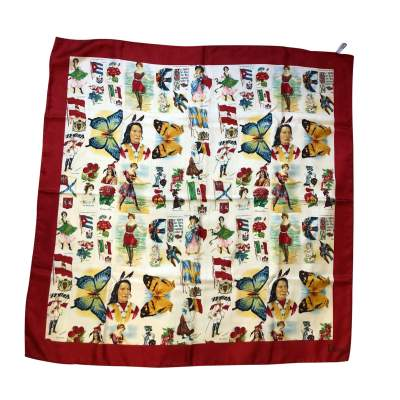 Red and cream silk Scarf-0