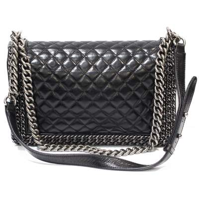 Black leather Boy Bag-3