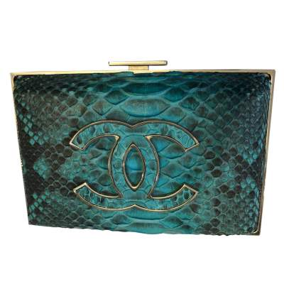 Turquoise python Clutch-0