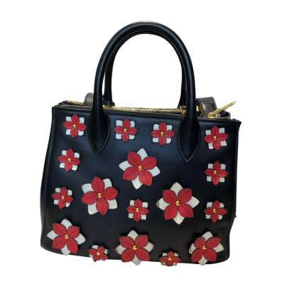 Flowers black leather Bag-1