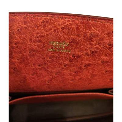 Dark orange ostrich Bag-11