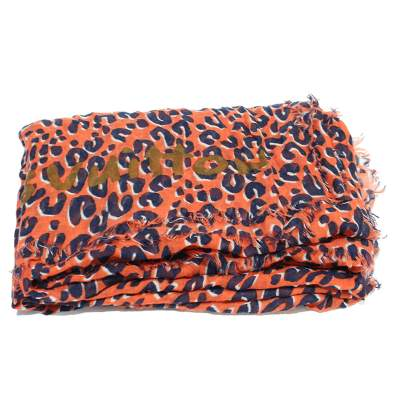 Navy and orange leopard Scarf-0