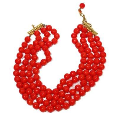 Vintage Red pearl Choker-0