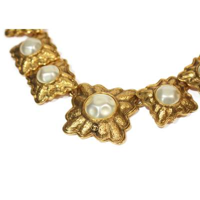 Vintage gold and pearl Necklace-3