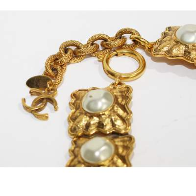 Vintage gold and pearl Necklace-5