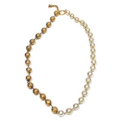 Vintage pearl ball Necklace -0