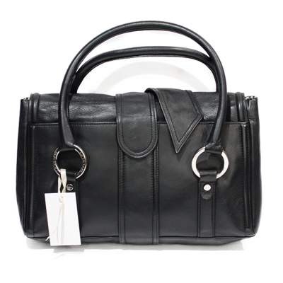 Black leather shoulder Bag-3