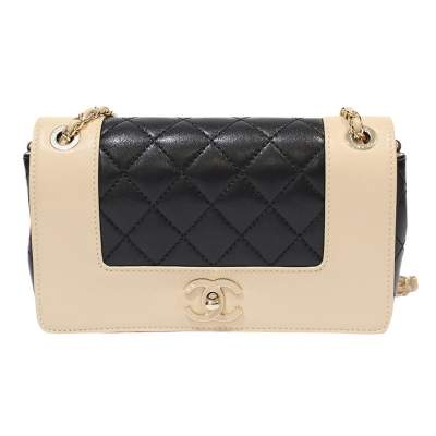 Champagne and black  leather Bag-0
