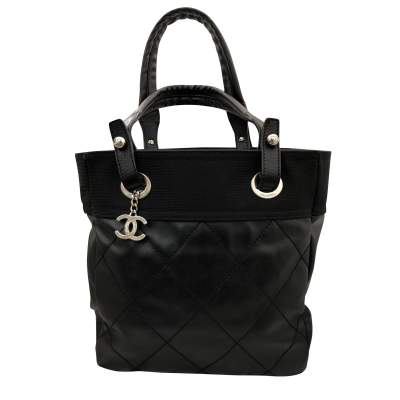 Black leather canvas Tote-0