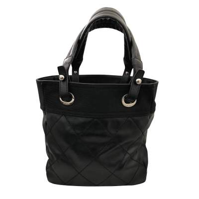 Black leather canvas Tote-3