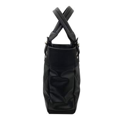 Black leather canvas Tote-5