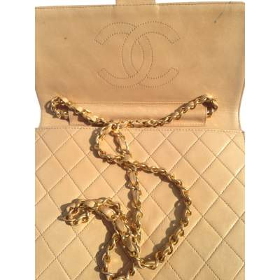 Vintage quilted beige Bag -5