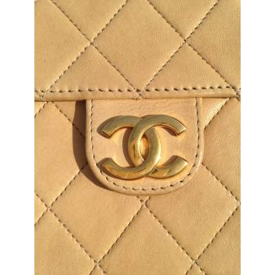 Vintage quilted beige Bag -11