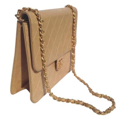 Vintage quilted beige Bag -7
