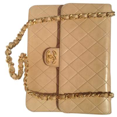 Vintage quilted beige Bag -9