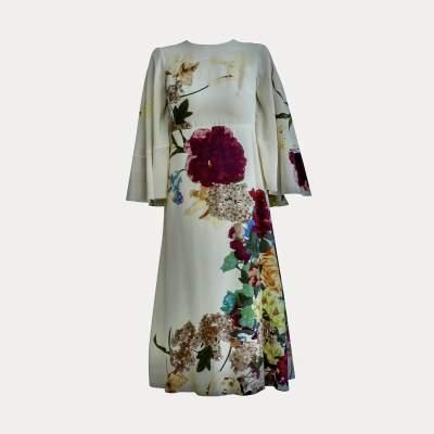 Cape back Floral- print silk Dress-7