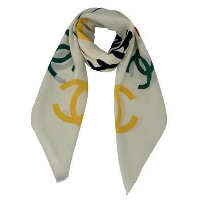 Chanel Printed CC Silk Scarf-0