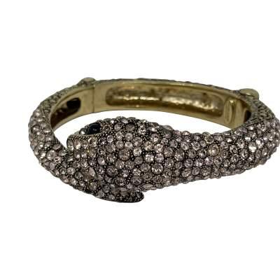 Gold Swarovski Crystal Snake Bracelet-0