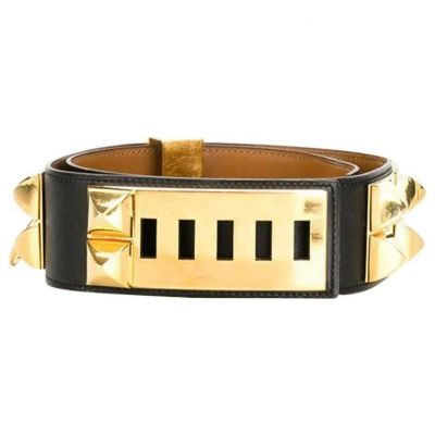 Black Calfskin Leather Collier de Chien Medor Belt 75cm-0