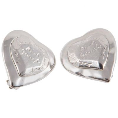 Vintage Heart Logo Silver Tone Clip On Earrings-0