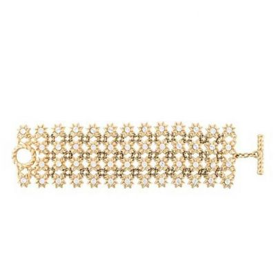 Gorgeous Gold-tone and Strass Stars Bracelet-0
