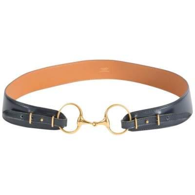 Vintage Navy Boxcalf Leather Belt-0