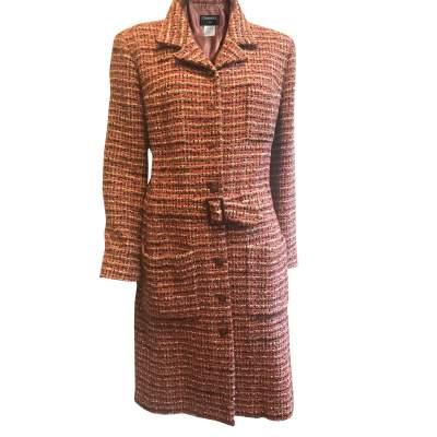 Long Multicolored Tweed Jacket-0