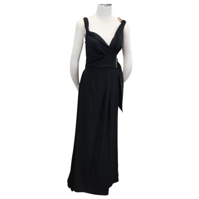 Gorgeous Portfolio Black Dress with Bronze metallic details-0