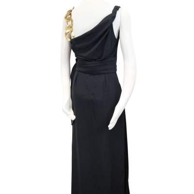 Gorgeous Portfolio Black Dress with Bronze metallic details-3