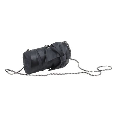 Black Evening Silk Clutch with Silver Hardware-0