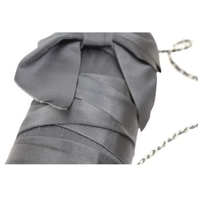 Black Evening Silk Clutch with Silver Hardware-5