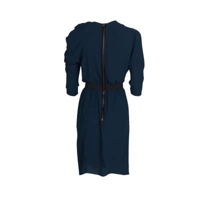 Pleated Neckline Knee-Lenght Dress-3